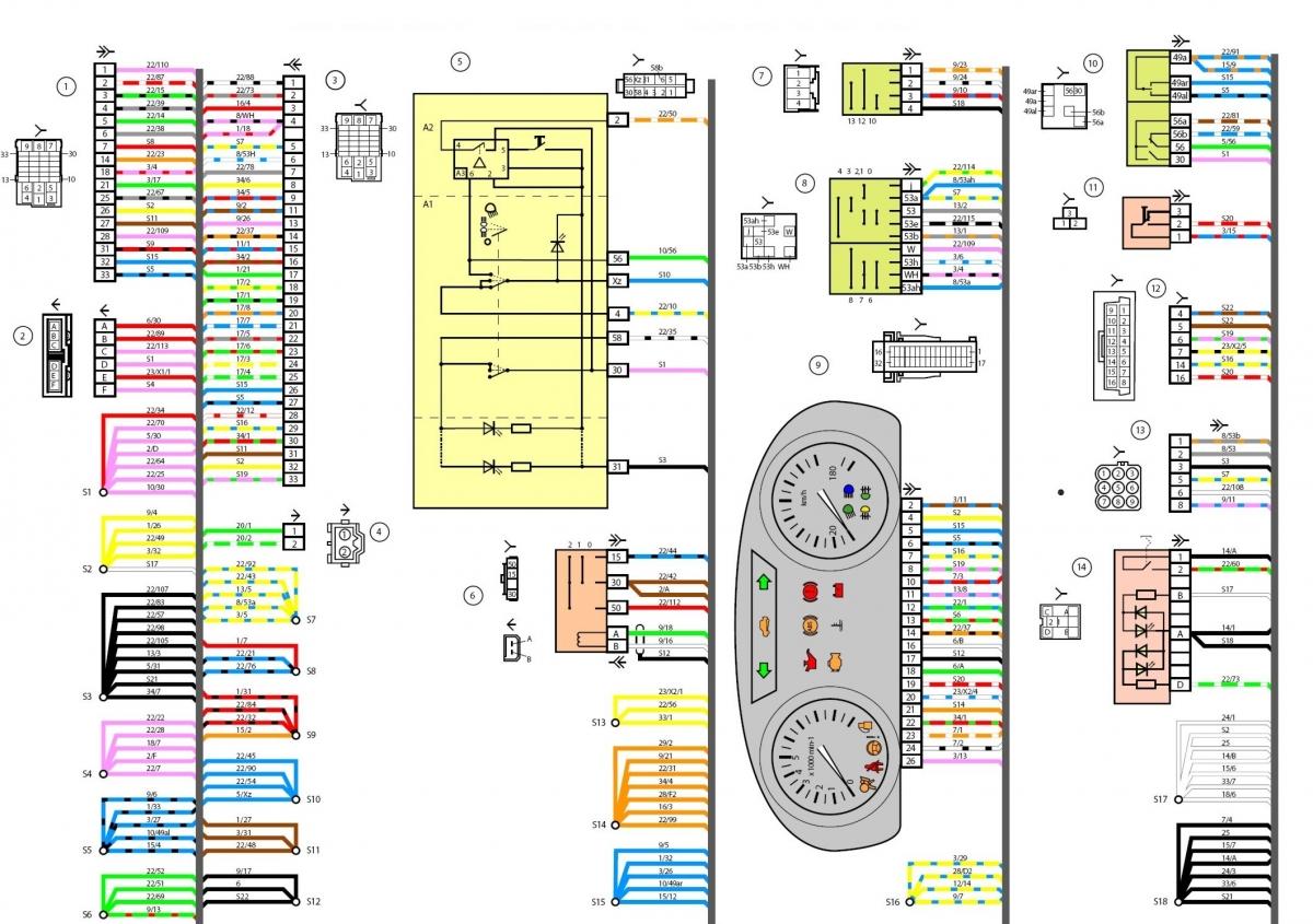 Электросхема панели приборов, системы зажигания, задних проводов.